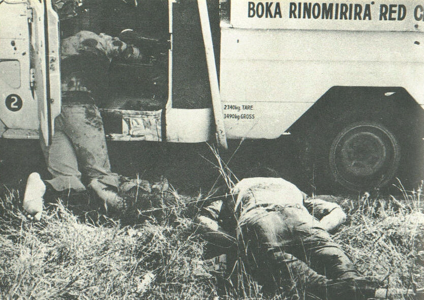 The bodies of two Red Cross workers killed by terrorist / guerrillas in 1978.
